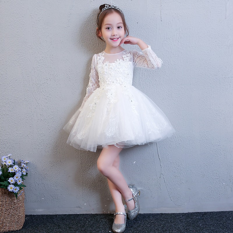 2018 winter baby girl floral dress kids party wedding pageant formal long sleeve prom princess tutu lace mesh dresses girls цены