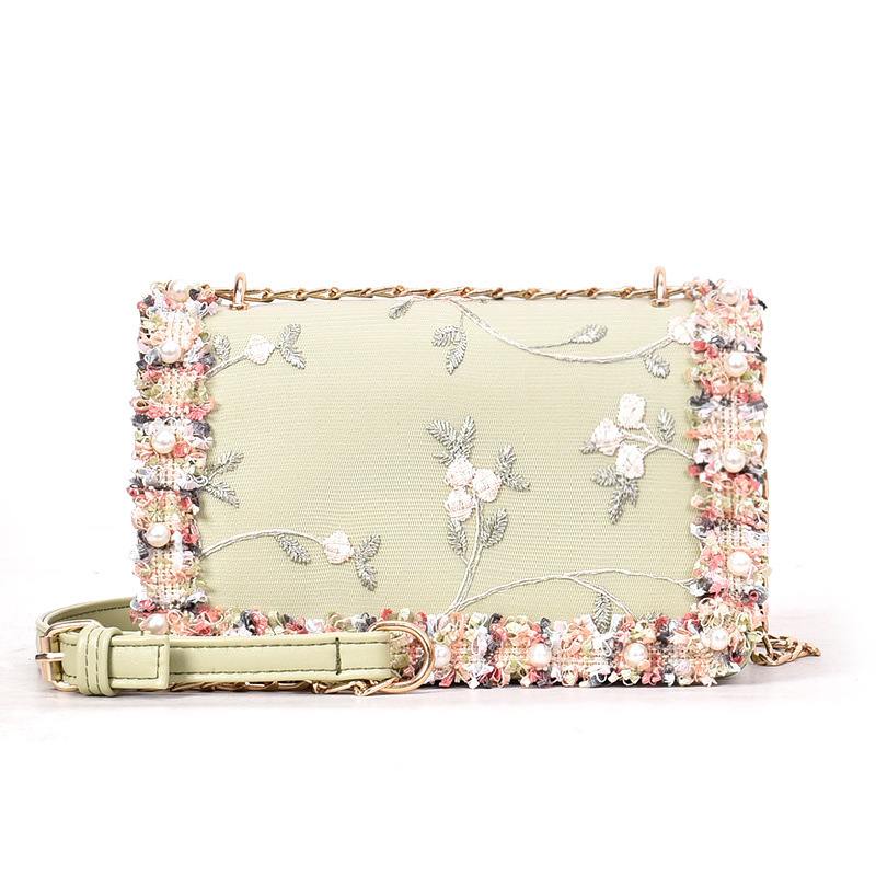 Elegant Clutch Messenger-Bag Chain-Shoulder-Bag Party-Bag Flower Pu-Handbag Pink Women