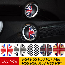 2 pçs/lote Bandeira Interior Maçaneta Da Porta Adesivos Decalque Decoração Estilo Do Carro Para Mini Cooper R55 R56 R60 R61 Clubman Compatriota