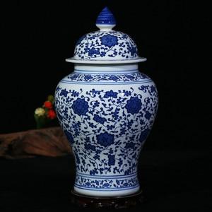 Image 3 - Chinese Style Antique Imposing Ceramic Ginger Jar Home Office Decor Blue and White Porcelain Vase