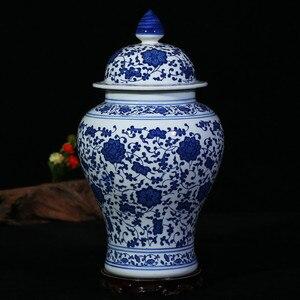 Image 3 - Çin Tarzı Antika Heybetli Seramik Zencefil Kavanoz Ev Ofis Dekor Mavi ve Beyaz Porselen Vazo