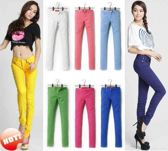 NEW Women's Chic Candy Neon Color Colorful Slim Fit Stretch Stretchy Skinny Leg Pencil Denim Pants Jeans Trousers Free Shipping