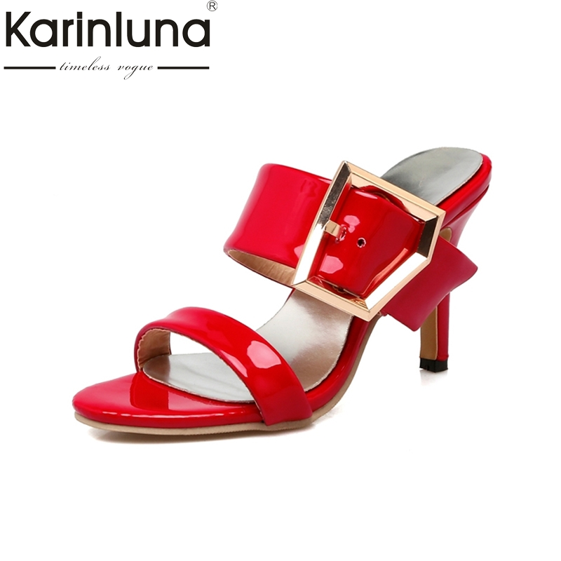 KARINLUNA Ladies Female Thin High Heel Sandals Summer Sexy Buckle Shoes Sweet Open Toe Less Platform Flip Flops 2017 2017 shoes women sandals flip flops sexy open toe slides female fashion platform comfortable sandal sweet slippers jelly shoes