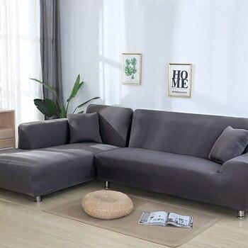 Grey Color elástico sofá cubierta sofá fundas para habitación sofá seccional funda sillón de cubierta de muebles