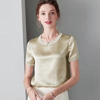 Khaki O Neck 100% Silk T Shirts Summer White Ladies Tops Summer Short Sleeve Tees Women Casual Pullover Soft Stain t shirt Black