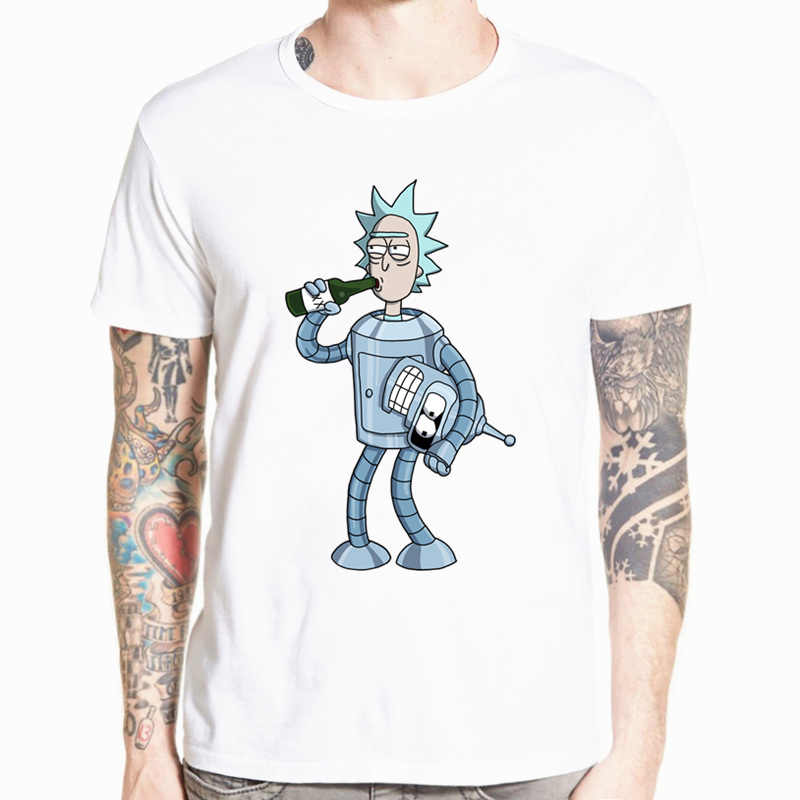 2018 Men's Rick and Morty Funny Anime T-shirt Casual Short sleeve O-Neck homme Summer White T shirt Swag Tshirt HCP134