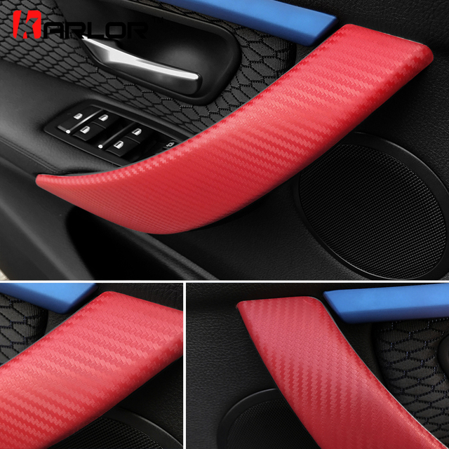 Carbon Fiber Protection Film Interior Door Handle Doorknob Cover Sticker  Decals Car Styling For BMW F30 F35 3 Series Accessories 6472ae541