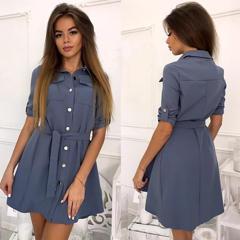 Women Vintage Sashes Pockets Party Dress Half Sleeve Turn Down Collar Solid A-line Sexy Dress 2019 Spring Fashion Women Dresa