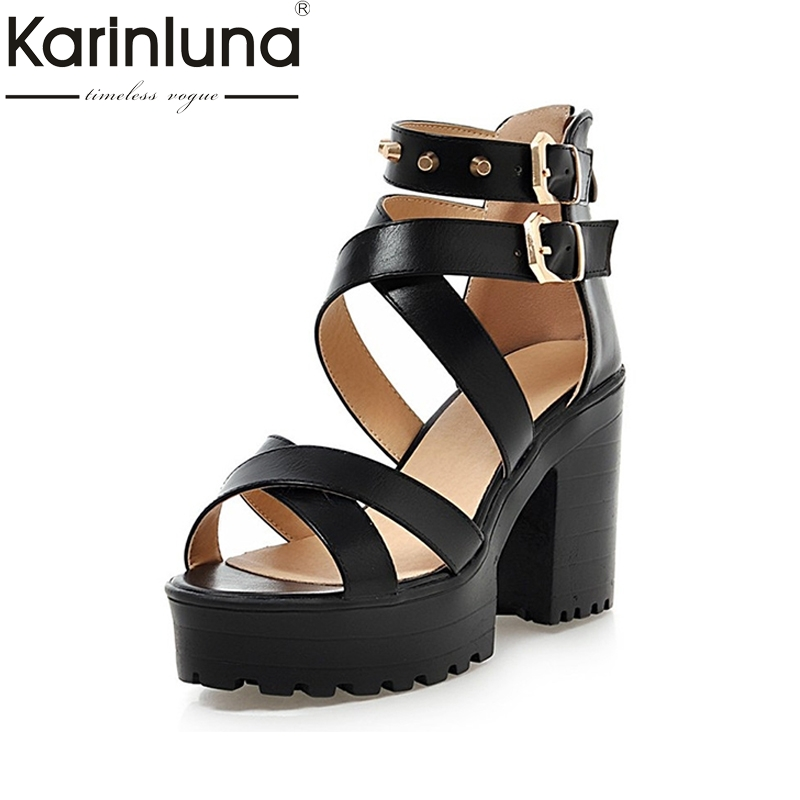 KarinLuna 2018 Big Size 34 43 Roman Style Rivets Women Sandals Cross Belt Platform High Heels