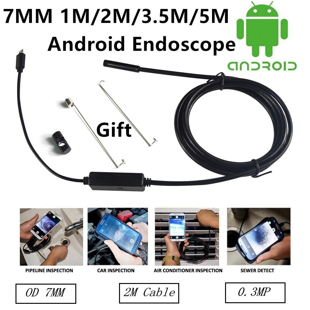 7mm Lens USB Endoscope 6 LED IP67 Waterproof Camera Endoscope1M/2M/3.5M/5M,