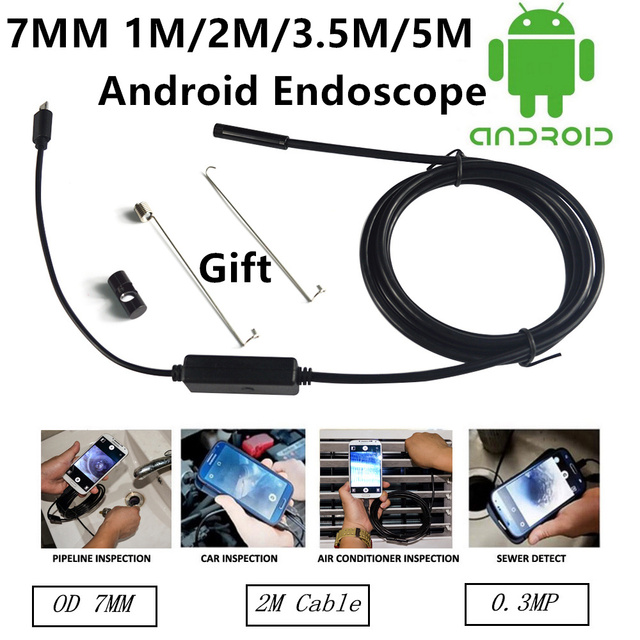 7mm Lens USB Endoscope 6 LED IP67 Waterproof Camera Endoscope1M/2M/3.5M/5M, Mini Camera Mirror As Gift Android Endoscope