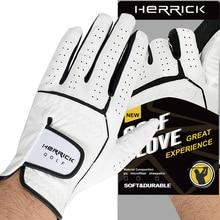 цена на  Golf glove men Left hand genuine leather Non-slip Sheepskin fabric glove free shipping