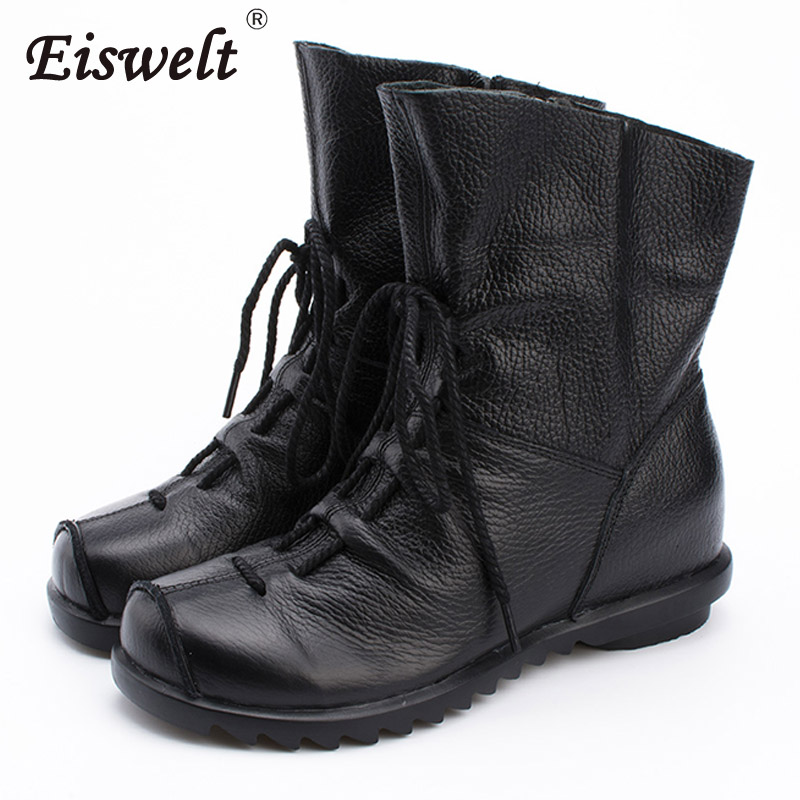 EISWELT New Woman Lace Up Casual Boots Women Fashion Genuine Leather Shoes Female Spring Autumn Ankle Boots Flats#ZQS159 coloful hollow out sexy low waist strapless neoprene swimsuit women 2016 bandeau bikini set bathing suit brazilian swimwear lc15
