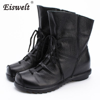 EISWELT New Woman Lace Up Casual Boots Women Fashion Genuine Leather Shoes Female Spring Autumn Ankle