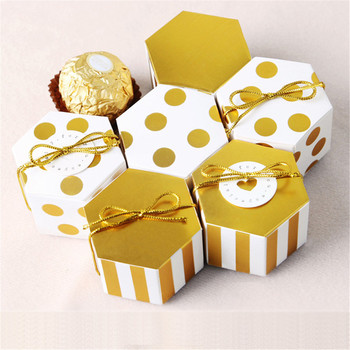 50pcs Wedding Chocolate Box Mini Stripe/Dots Golden Bronzing Color Hexagon Candy Box Baking Package Wedding Party Decorations image