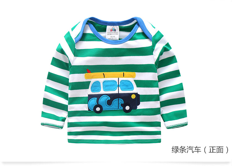 2018 Spring Autumn For 2-9 10 Years Children Cotton Striped Patchwork Cartoon Car Bus Truck Baby Kids Boys Long Sleeve T Shirts (49)