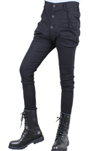 2017 large size 27-44 Trousers male slim harem pants personality boot cut jeans fashion beam pants tight-fittingThe singer's clo