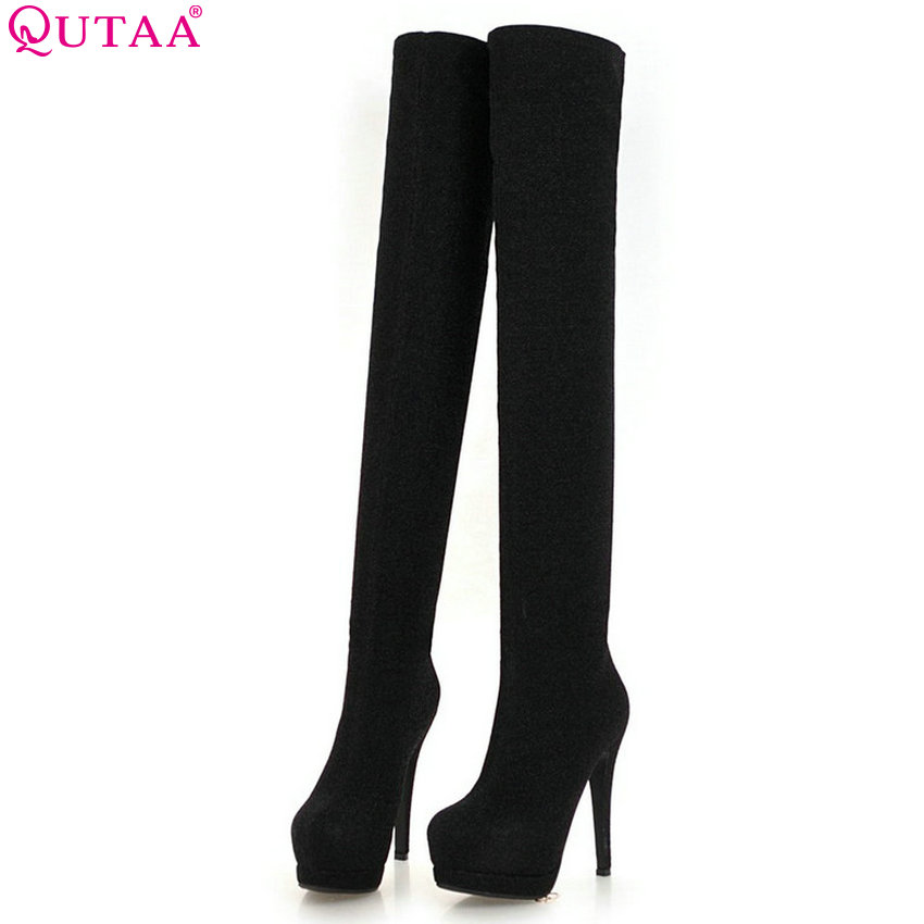 QUTAA 2019 Women Motorcycle Boots Over The Knee High Boots Platform Thin High Heel Winter Shoes Woman Boots Big Size 34-43 qutaa 2017 spring women over the knee boots elastic band thin high heel elegant women party shoes black winter warm size 34 43 page 7