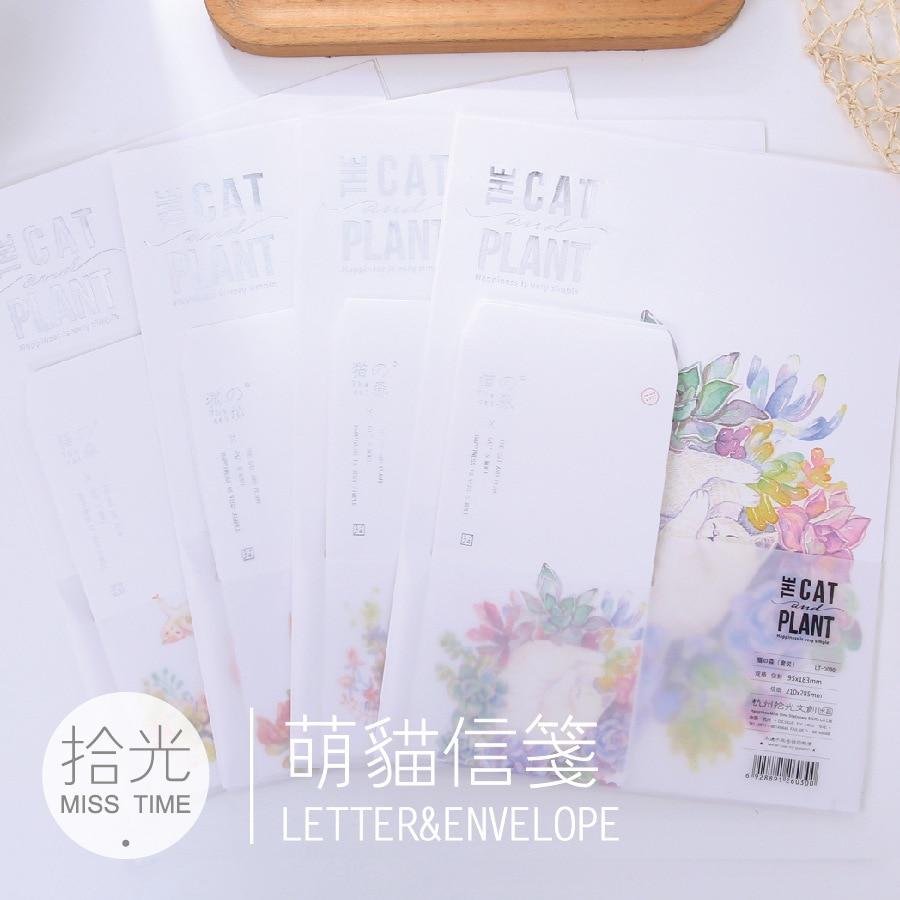 9 Teile/satz 3 Umhüllt + 6 Writting Papier Die Katze Und Anlage Umschlag Brief Papier Schule Liefert