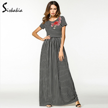 Siskakia Flower Embroidery knitted long Black white striped vintage maxi  Dresses 52a7d656a5cb