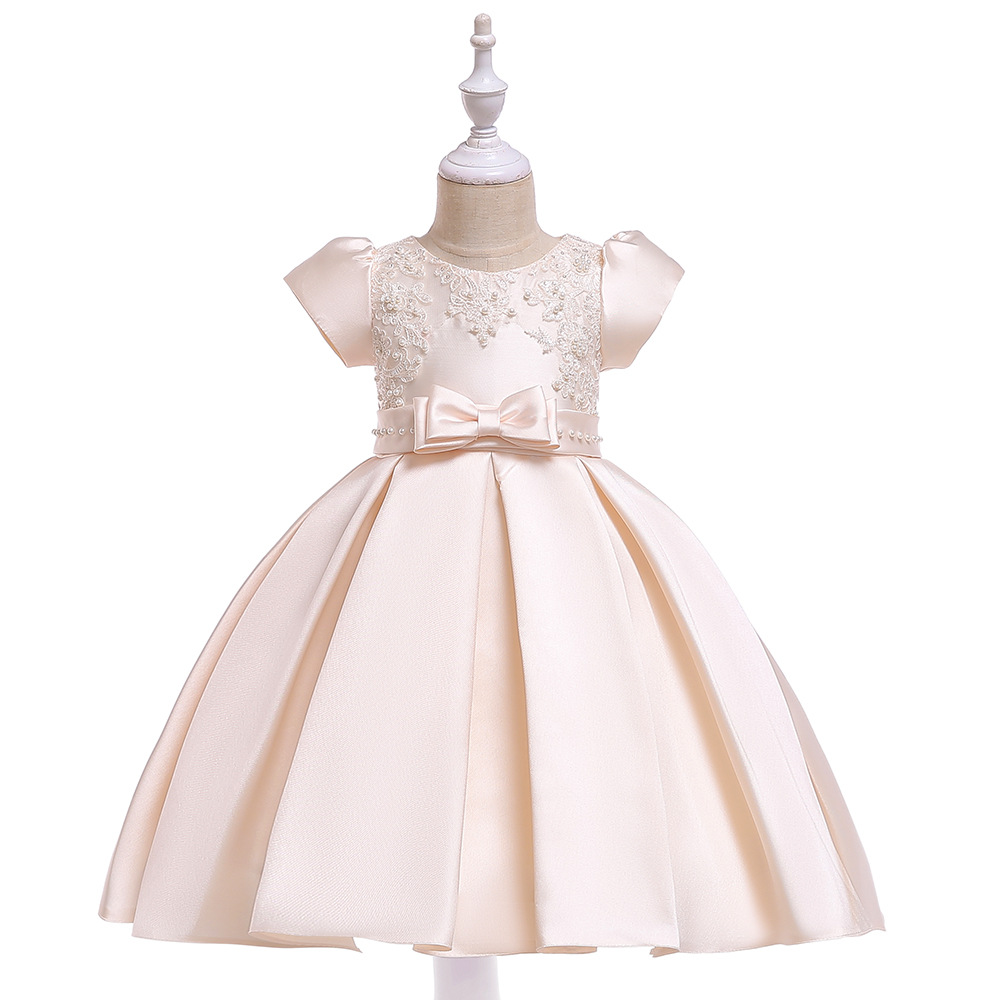 New 2019 A-Line Short Sleeves Champagne Satin   Flower     Girl     Dresses   Lace Appliques First Communion   Dresses   Party with Pearls