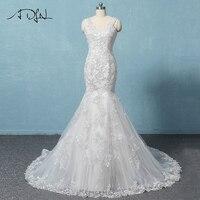 Adln Vestido De Noiva Свадебные платья индивидуальный заказ See Through Молния сзади кнопку бисером аппликация Тюль платье невесты