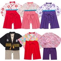 baby bodysuit Girl boy Japanese Kimono Dress 1st birthday infant Kids Costume Traditional Japones Children Clothing