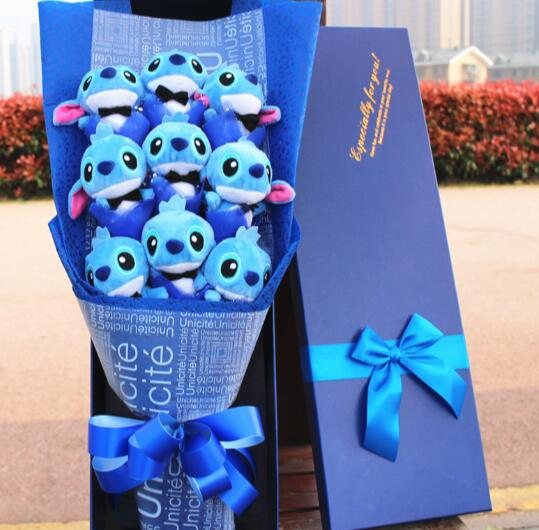 Hot Kawaii Stitch Plush Toys Anime Lilo and Stitch Soft Stuffed Animal Dolls Stich Plush bouquet gift box Children Birthday Gift kawaii stitch plush doll toys anime lilo and stitch 25cm stich plush toys for children kids birthday gift