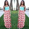 Women Summer Beach Boho Maxi Dress 2016 High Quality Brand Striped Print Long Dresses Feminine Plus