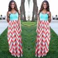 Женщины Летний Пляж Boho Макси Платье 2016 Высокое Качество Марка Полосатый Печати Длинные Платья Женская Плюс Размер
