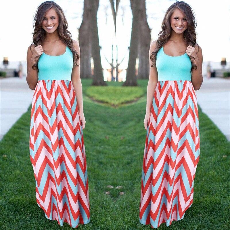 Frauen Sommer Strand Boho Maxi Kleid 2018 Hohe Qualität Marke Striped Print Lange Kleider Feminine Plus Größe