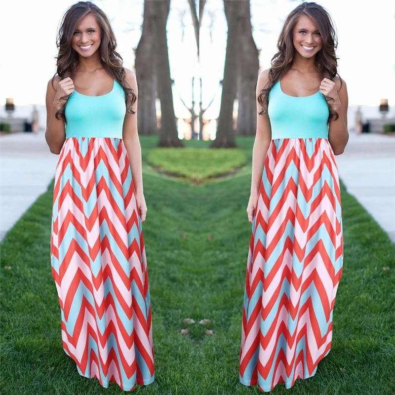 Frauen sommer strand boho maxi dress 2016 hohe qualität marke striped print lange kleider feminine plus größe