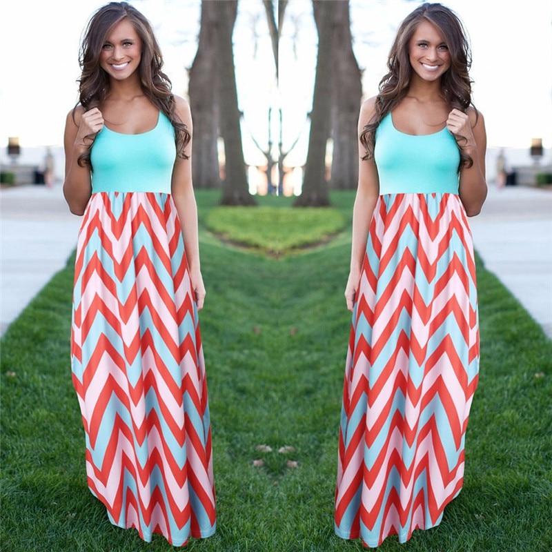 Buy Cheap Women Summer Beach Boho Maxi Dress 2016 High Quality Brand Striped Print Long Dresses Feminine Plus Size