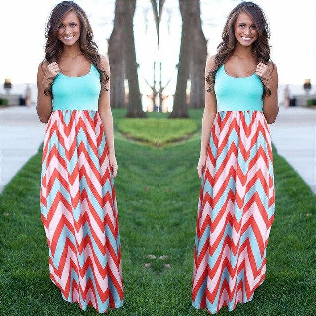 Женщины летний пляж boho maxi dress 2016 высокое качество марка полосатый печати длинные платья женская плюс размер