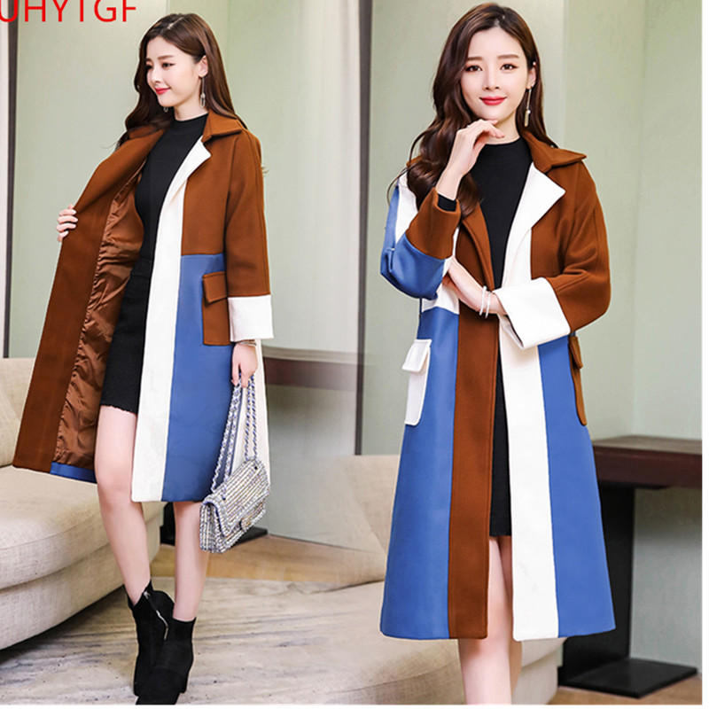 Buy New Autumn Winter Woolen coat Korea  Plus size elegant women coats Fashion Long sleeve splice long women's cashmere coat 820 for only 86.8 USD