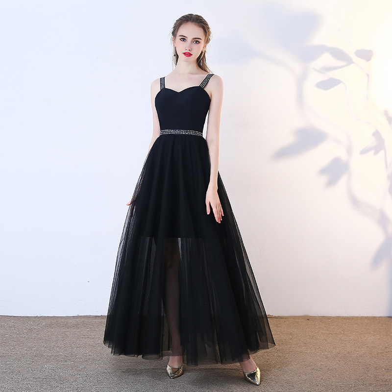 Improved New Women Black Dress Strap Sexy Solid Chiffon Evening Dress Slim Full Length Celebrity Banquet