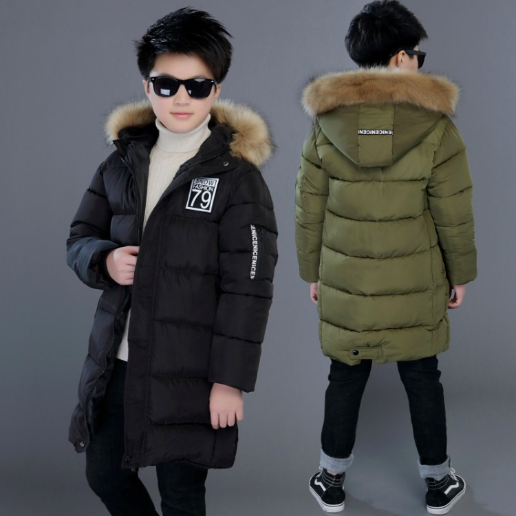 2018 children Parkas 5-13T winter kids outerwear boys casual warm hooded jacket for boys solid boys warm   coats