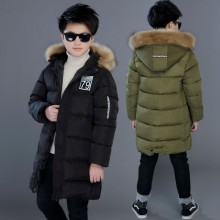 5-14Medium-long Winter Coat for boy padded 100%cotton jacket 2017new Children Boys thick warm winter jacket hooded coat with Fur цена в Москве и Питере