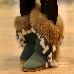 Free shipping 2014 high-leg boots genuine leather snow boots rabbit fur fox fur women's shoes