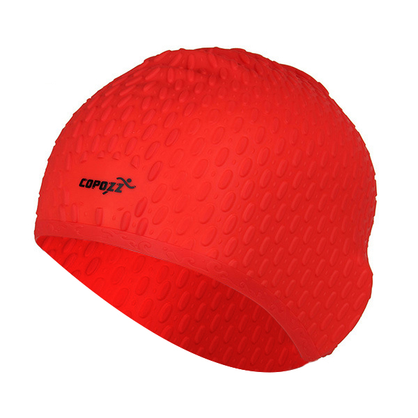 COPOZZ Silicon Swimming Hat Cover Protect Ear Long Hair Waterdrop Swimming Caps(red)
