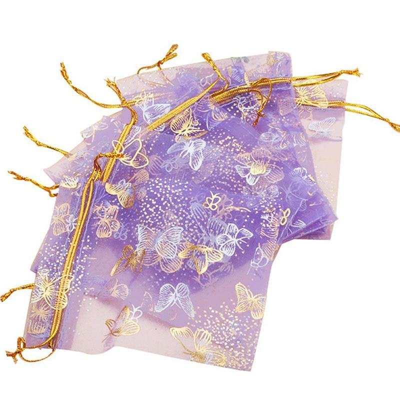 100pcs Purple Butterfly Print Gifts Bags Jewelry Packing Drawable Organza Bags For Wedding Party Gift Bags Pouches 10x12cm