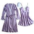 Das mulheres robe set camisola + roupão duas peças sexy feminino laço de cetim acolchoado senhoras pijamas set home wear 2017 nova projeto