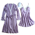 women's robe set nightdress + bathrobe two pieces female sexy lace satin padded ladies sleepwear set home wear 2017 new design