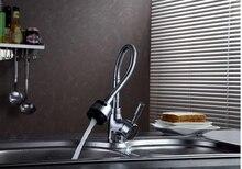Мода хром латунь одним рычагом горячей и холодной кухонная раковина кран, Смеситель, Бассейна кран с весной трубы