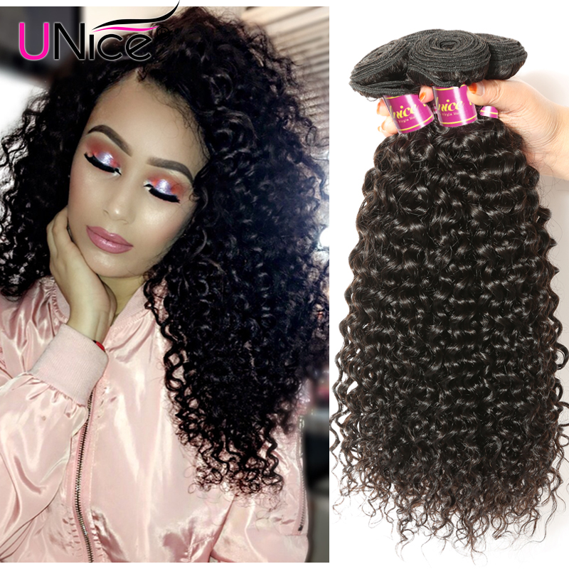 Unice Malaysian Curly Hair Human Hair Extensions 3 Bundle