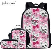 Jackherelook Kids Cute Dog Print School Bags For Teenage Girls Children 3D Puppy Yorkshire Terrier Backpack Student Schoolbag