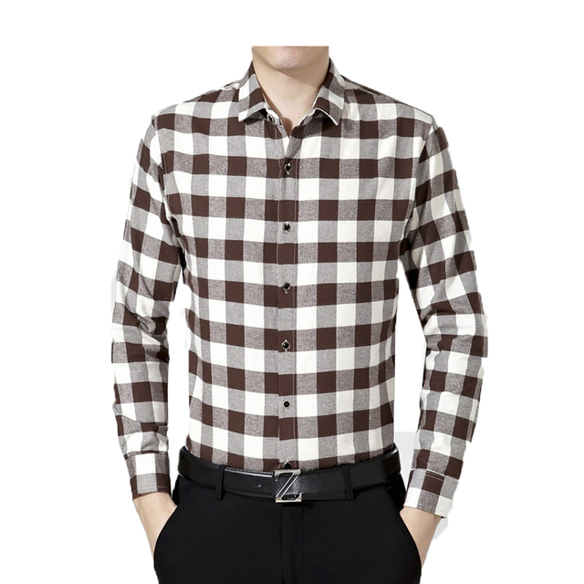 2016 The New Autumn and winter men shirt Single breasted  long sleeve shirt  Plaid Business Casual men's Lapel shirt  68