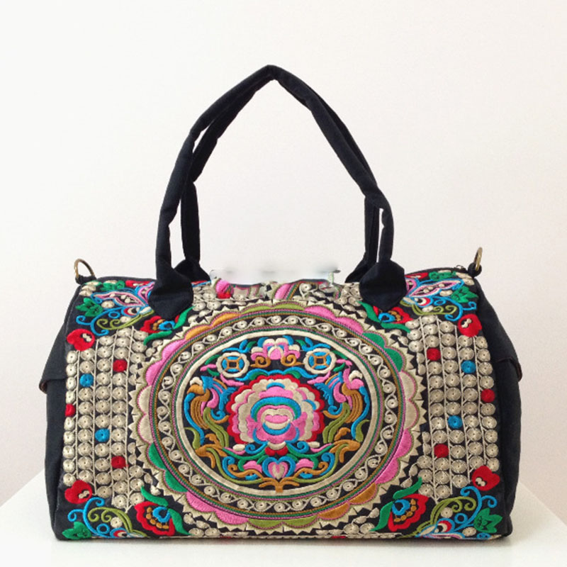 XIYUAN BRAND Ethnic Canvas black Handbags Women Vintage Floral Embroidery Shoulder Bag Tote Ladies Hand Bags Random Color BolsosXIYUAN BRAND Ethnic Canvas black Handbags Women Vintage Floral Embroidery Shoulder Bag Tote Ladies Hand Bags Random Color Bolsos