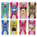 Kuchong marco de parachoques del teléfono del silicón 3d de dibujos animados puntada minnie del gatito de frontera para iphone cubrir todos los teléfonos 4.7 5.5 pulgadas
