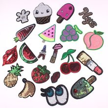 цены 20Pcs Mixed Sequins Patches Fruit Iron / Sew On Embroidered Badges Sequin Applique For Kids Clothes Stickers